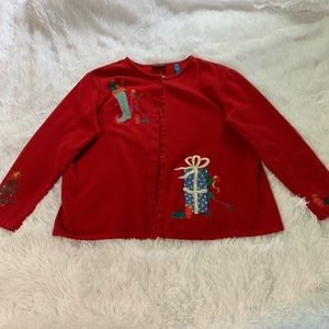 Karen Scott Sports Christmas cardigan sweater XL
